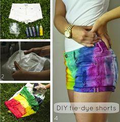 Veja como fazer um lindo short colorido em casa. A personalização que você mesma pode fazer e fica lindo, experimente.