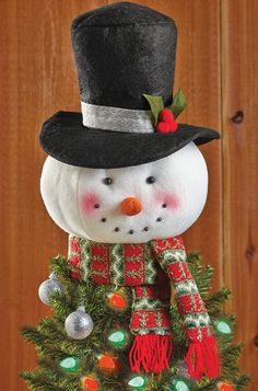 """Christmas Snowman Festive Tree Topper Holiday Decor Polyester 15""""H NEW B6327 #Unbranded. Living room tree topper."""