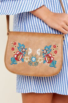 What's The Stitch Tan Embroidered Purse at reddressboutique.com