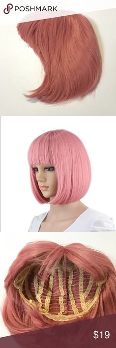"""Short Bob Hair Wig 12"""" Straight with Bangs eNilecor short bob hair wig 12"""" straight with flat bangs. Brand new without tags. Never worn. Synthetic. Does not include wig cap.   100% breathable rose net. There are two adjustment straps at two side of the wig, to suit different head sizes.   The band is: 4 inches  The back hair is: 12 inches Accessories Hair Accessories"""