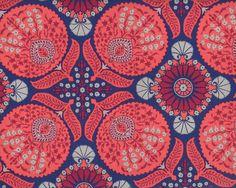 Patchworkstoff FLORA BAZZAR, Schablonen-Blüten, lachsrot-dunkelblau