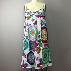Desigual Sundress 38 M 100% cotton, beautiful colors and fully lined. Size 38 would fit a small or medium. Elastic along back allows flexible bust fit. I bought this for a vacation and never wore it though tags are missing. Desigual Dresses
