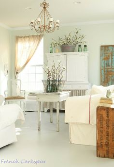 French Larkspur: Painted floors and spring decor in the Family Room