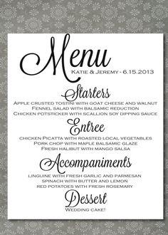 17 best wedding menu images on pinterest wedding dinner menu wedding menu script elegance by writtenindetail on etsy 200 junglespirit Images
