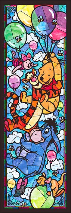 BUY 2, GET 1 FREE! The winnie the pooh Disney Stained Glass 089 Cross Stitch Pattern Counted Cross Stitch Chart, Pdf Format/121358 by icrossstitchpattern on Etsy