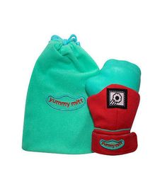 Yummy Mitt Teething Mitten Glow in the Dark - Red and Turquoise
