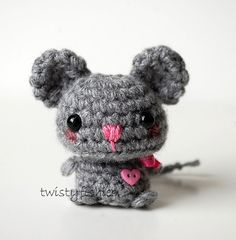 Baby Gray Mouse - Kawaii Mini Amigurumi Plush