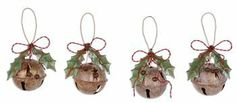 Amazon.com - Rustic Jingle Bell Holiday Ornaments - Set of 4