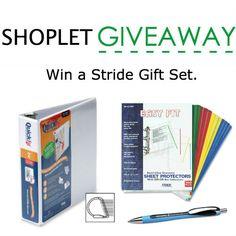 Enter for a chance to win a Stride gift set. Contest begins April 20-26th 2015. Bundle includes Stride D ring Binder, Schneider pens and Sheet protectors. http://blog.shoplet.com/giveaways/win-a-stride-gift-set/