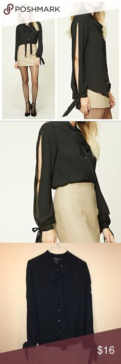 🎉Contemporary Tie-Neck Blouse A black collared semi-sheer woven top with a self-tie neckline, buttoned front, high-low hem, & long vented sleeves that are also self-tie at the ends from Forever 21. This top's style is more loose-fitting, lightweight material and and comfortable. Really chiq style that shows off your arms, pair it with pants/skirt. New with tag and extra button in a size small, price is cut. Length of top: 27 inches, length of sleeves: 24 inches and laid flat armpit to…