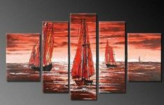 5 Pics Sailling Boat Large Modern Abstract 100% Hand Painted Oil Painting on Canvas Wall Art Deco Home Decoration (Unstretch No Frame) by galleryworldwide, http://www.amazon.com/dp/B008Z9UQ0C/ref=cm_sw_r_pi_dp_yAbUrb02V7Y3S