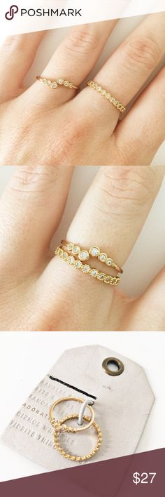 Anthropologie gold cluster ring set New with tags. Bundle 3+ for 20% off  Anthropologie Jewelry Rings