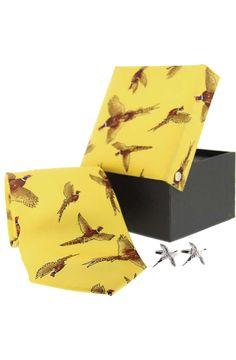 Soprano Gold Pheasant Silk Country Tie Cufflink www.ties-online.com/gold-pheasant-silk-country-tie-cufflink £34.95