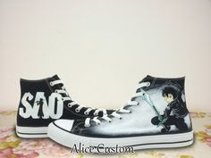 Sword Art Online Converse Shoes-Hand Paint Converse by AliceCustom