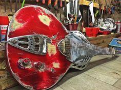 """Paris -Texas"" lap steel/ Weissenborn by MeloDuende Guitars. Aluminium Guitars - Handmade In France."