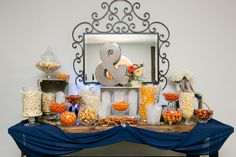 The perfect October Candy Bar set up for Autumn + Jason's Wedding at the Villa de Amore  (Photo By Leah Marie Photography)