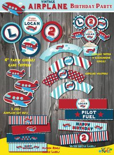 Vintage Airplane Birthday Decoration Package por ItsAllAboutKidz