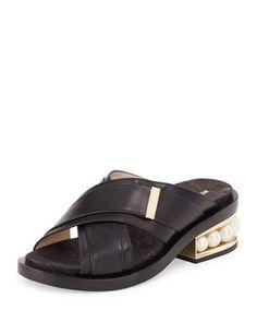 S0H1C Nicholas Kirkwood Casati Pearly-Heel Crisscross Sandal Slide, Black