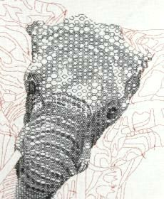 Blackwork Elephant Embroidery by Tanja Berlin. Kit or pattern available from: www.berlinembroidery.com