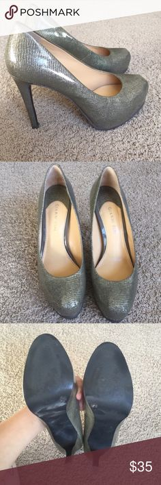 Gianni Bini Heels Worn maybe two times. Excellent condition, no scratches. Leather Upper. Silver color. Gianni Bini Shoes Platforms