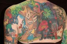 Medway, MA-based tattoo artist Holly Azzara has condensed the story of Alice in Wonderland — from rabbit hole to Cheshire Cat to Red Queen — into one glorious full-back, double-sleeve tattoo.