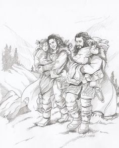 Thorin, helping his sister Dis with his two nephews