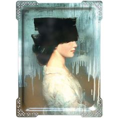ibride Galerie De Portraits - Large Rectangular Tray - IDA - 2 ($160) ❤ liked on Polyvore featuring home, home decor, small item storage, multi, rectangular tray, ibride trays, ibride, black rectangular tray and key tray