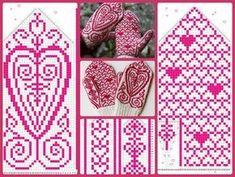 Knitted Mittens Pattern, Fair Isle Knitting Patterns, Knit Mittens, Knitting Charts, Knitted Gloves, Knitting Socks, Crochet Chart, Knit Crochet, Knifty Knitter