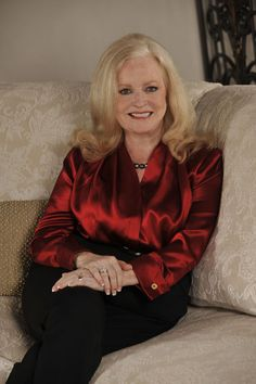 "SHARON LECHTER - Beautiful Author of ""Rich Dad, Poor Dad,"" ""Think and Grow Rich for Women,"" [and numerous other titles] wearing a Kimberley Ashley Haute Couture Blouse, designed for her book launch for ""Three Feet from Gold."""
