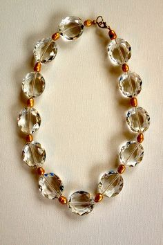 Statement necklace, large clear Czech crystal beads with golden freshwater pearls, urban chic, beadwork necklace