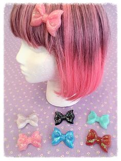 Kawaii Resin Bow Hair Clips  Lolita  Decora Kei  Hime by CandCBaby