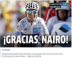 #GraciasNairo 2do en el Tour de Francia y ganador por equipos #VamosColombia cc @NairoQuinCo #OrgulloColombiano Nairo Quintana, subcampeón del Tour de Francia 2015.  El ciclista que no tiene límites →http://ow.ly/Q634j