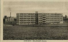 Bata Shoe factory, Hellocourt, Moselle France. Usine Bataville. postcard