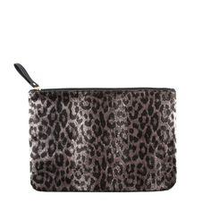 Pochette léopard argenté noir - #pochette #léopard