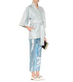 Silk-blend mint jacquard kimono