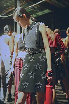 Diesel denim and star studded skirts at Diesel Black Gold SS15 NYFW. More images here: http://www.dazeddigital.com/fashion/article/21620/1/diesel-black-gold-ss15