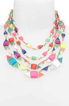 kate spade new york pueblo tiles mix shape multi row necklace | Nordstrom