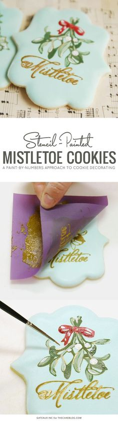How to stencil-paint a cookie | Mistletoe Cookie Tutorial | by Robin Martin for TheCakeBlog.com...x