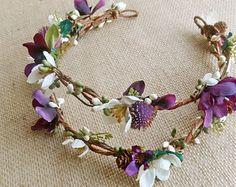 Rustic floral crown, bridal flower crown, bridal headpiece, hair vine, purple flower headband, turquoise, woodland wedding