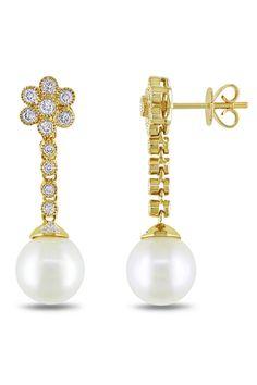 Eclipse .5 Ct Diamond & 9-9.5mm Pearl Earrings In 14k Yellow Gold