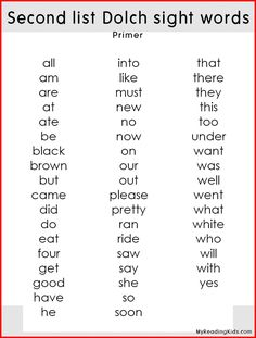 Dolch sight words lists! First list dolch sight words for