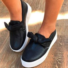 Woman Bowknot Platform Casual All Season Slip-on Flats Sneakers Loafer – cuteshoeswear black loafers how to wear loafers loafers outfit work loafers outfit fall loafers with socks Loafers With Socks, How To Wear Loafers, Loafers Outfit, Black Loafers, Casual Loafers, Loafers For Women, Black Slip On Sneakers, Bow Sneakers, Leather Sneakers