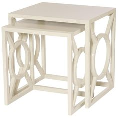 Reiley Modern Classic Alabaster Nesting Side Tables - Set of 2 | Kathy Kuo Home