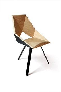 Geometric wooden chair. Wood and black. Beautiful and simple.