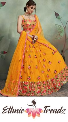 "yellow Net Lehenga choli featuring in sequence and thread machine embroidery, Neckline is embellished in multi embroidery and thread embroidery perfect balance for sleeve less designer blouse, Matched with matched with net thread work blouse and dupatta in yellow Net with lace border, lehenga is free size 42"" and blouse is unstitch with ready to set dupatta, lehenga is attached with cancan and canvas patti for smoothness of flair Indian Lehenga, Half Saree Lehenga, Lehnga Dress, Net Lehenga, Lehenga Kurta, Indian Wedding Lehenga, Blouse For Lehenga, Lehenga Choli Latest, Latest Bridal Lehenga"
