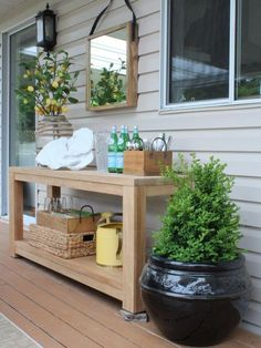 - Outdoor Vignette on my Patio: Before & After - Maria Killam, Backyard Patio Furniture - Outdoor Walls, Outdoor Rooms, Outdoor Table Decor, Patio Wall Decor, Outdoor Deck Decorating, Outdoor Patio Tables, Outdoor Wall Decorations, Patio Decorating Ideas, Outdoor Console Table