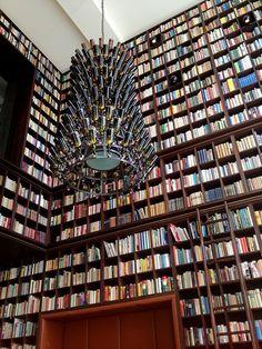 Boutique hotel in Albisguetli, Zurich, Switzerland: Antique books! beer-themed chandeliers! the hotel library!