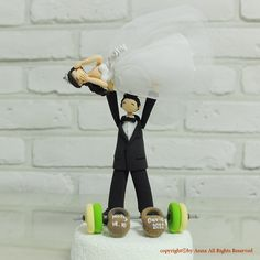 Weightlifting pose custom wedding cake topper by annacrafts, $190.00