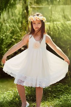 Ivory Flower Girl Dress with layers of chiffon by Bubale1 on Etsy, $109.95