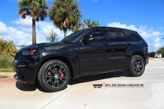 You don't always have to buy new wheels and go crazy to be custom. We can enhance your OEM look with our list of services! 2016 JEEP GRAND CHEROKEE SRT SUV - SUPERIOR AUTO DESIGN CHROME DELETE PACKAGE PAINTED AND WRAPPED - CUSTOM PAINTED SMOKED TAIL LIGHTS - SUNTEK TINT